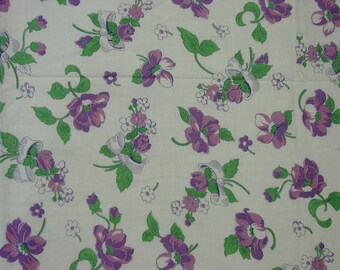 "Vintage Full Feedsack, Fabric Purple Flowers, Ribbon Bows 38 x 41 1/2"" Pretty"