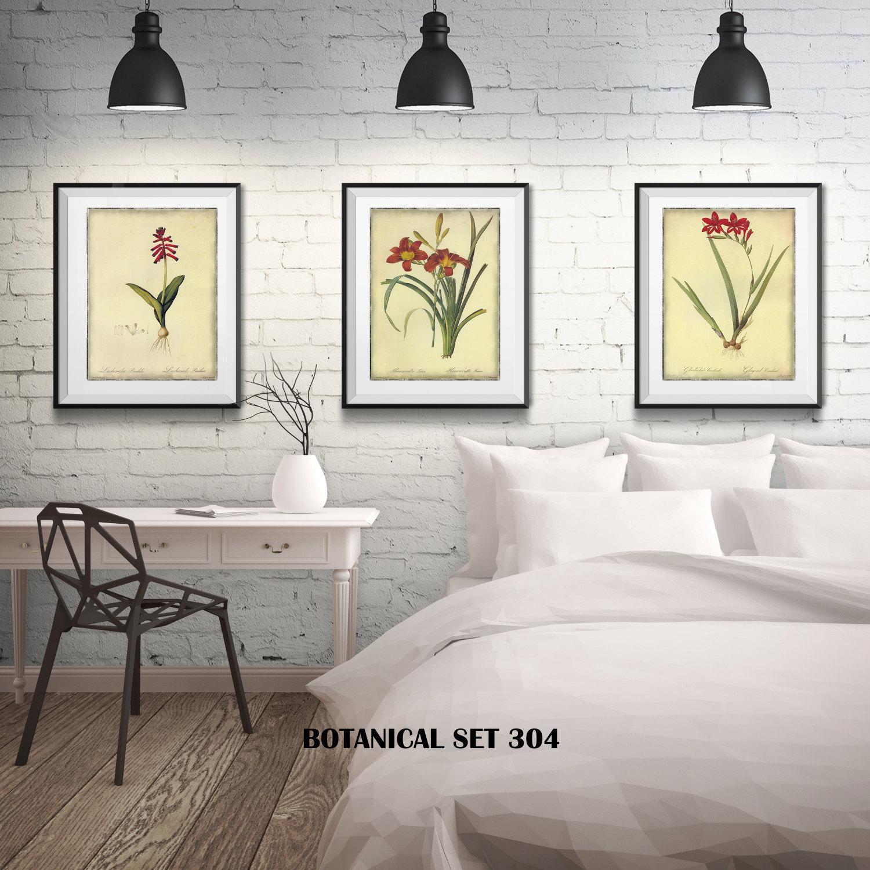 3 botanical prints matted and framed free shipping red 3 botanical prints matted and framed free shipping red floral prints black or white frames in 4 sizes set of 3 framed prints jeuxipadfo Images