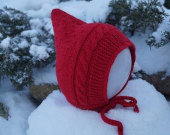 Toddler Pixie Hat. Baby hat. Elf hat. Red hat. Pixie Bonnet. Toddler Hat. Merino & Cashmere Wool hat. Handmade knitted hat.