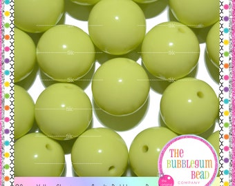 20mm YELLOW CHARTREUSE ACRYLIC Bubblegum Beads, Gumball Beads, Chunky Beads, Photo Prop, Chunky Necklace Beads, The Bubblegum Bead Co.