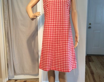 Red and White Checkerboard Sheath Dress fits like a Small