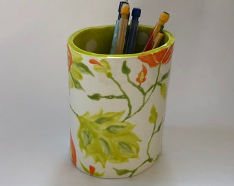 Whimsical pottery Utensil Holder - Vase home decor, kiwi lime green ceramic & sunny yellow orange hand-painted colorful floral