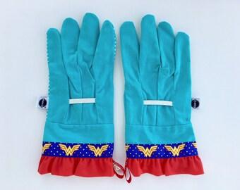Superhero Garden Gloves. Wonderful Woman Work Gloves. Mother's Day Gardener Gift Under 30.