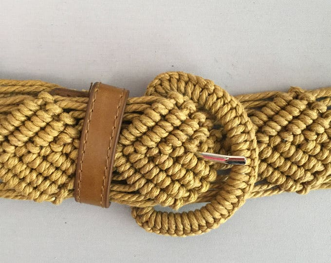 1970s macrame and leather belt