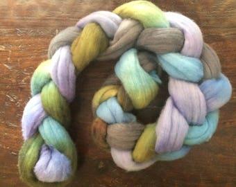 Hand dyed bfl wool, blue faced Leicester wool, bfl combed top, bfl spinning fiber, bfl felting fiber