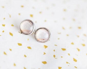 Nude stud earrings, nude, stud earrings, Pink Petal, petal earrings, petal studs, pale pink studs, pink studs, Bridesmaid gift, petite