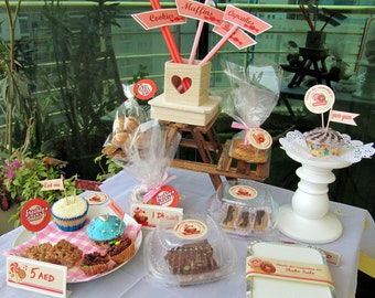 Bake Sale Printables, Retro Themed cupcake toppers, tags packaging