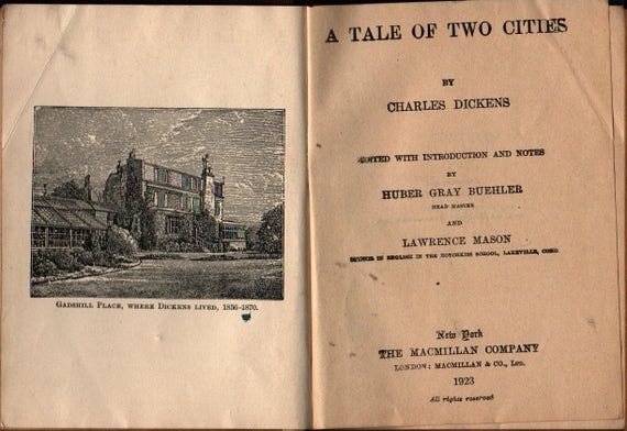 A Tale of Two Cities + MacMillan's Pocket Classics + Charles Dickens + 1923 + Vintage Book