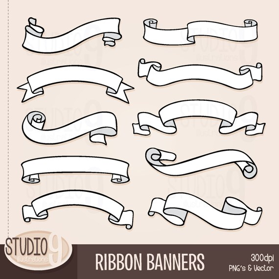 ribbon banners clip art ribbon banner clipart banner rh etsy com green ribbon banner clipart black ribbon banner clipart