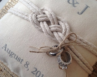 Vintage Nautical Tie the knot personalized ring bearer pillow.  Custom with names, dates, etc
