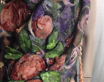 FINAL SALE - Felt felted Scarf Floral Rich  Boho 3D Shawl with locks and Swarovsky chrystals with fringes Unique OOAK