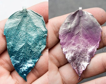 Electroplated Hibiscus Leaf, Foliage  Pink  or Green Pendant 10371 10372