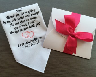 Wedding Handkerchief For Dad-Father Of Bride Gift- Handkerchief-Customized -Embroidery-Free Wedding Gift Box