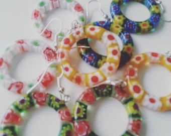 Mix colour, Hippie, Bohemian, millefiori, glass, cicle, hoop,earrings, choose colour,  by NewellsJewels on etsy