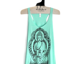 M,L -Tri-Blend Mint Racerback Tank with Buddha Screen Print
