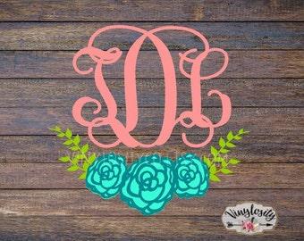 Monogram Decal | Floral Monogram | Floral Monogram Decal | Car Decal | Yeti Decal | Vinyl Decal | Floral Stickers | Monogram Sticker