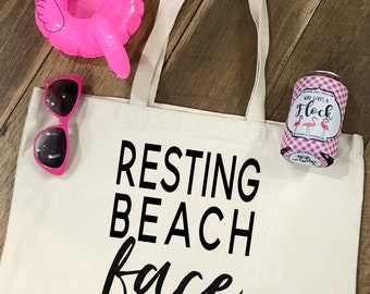 Resting Beach Face Tote Bag - Summer Vacay Tote - Reusable Bag - Bridesmaid Gift - Summer Beach Bag - Carry On Tote - Bachelorette Gift