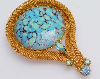 Vintage Art Glass Brooch Mesh Jewelry