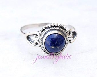 Lapis Ring - Blue Lapis Lazuli Ring - Lapis Jewelry - Silver Ring - Gemstone Ring - Blue Stone Ring, Size 3 To 16(US)