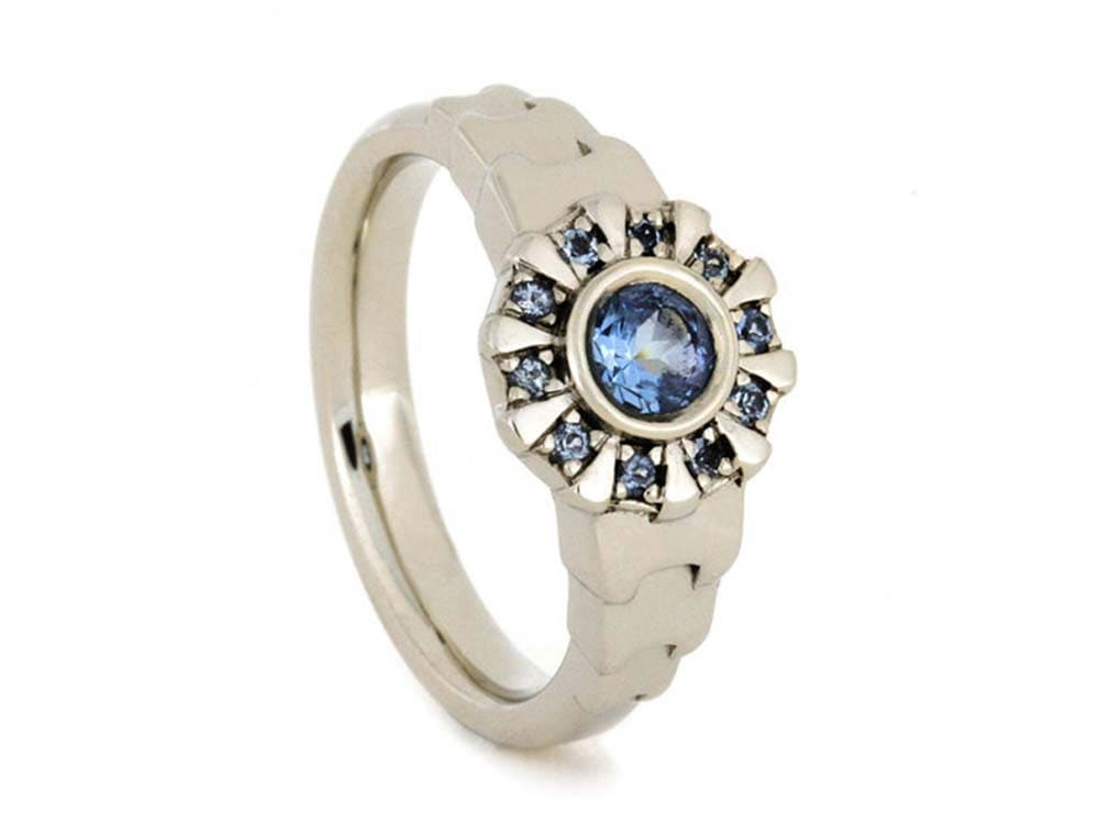 Iron Man Arc Reactor Inspired Ring With Aquamarine Center 14k