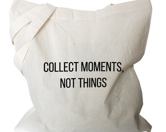 """Tote bag """"collect moments not things"""" quote folding shopping bag fold away shopping bag canvas shoulder totes (b43)"""