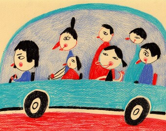 Cartoon world / ORIGINAL ILLUSTRATION / Children decor / kids art / Family car / Riding a car / Happy Original Pencil Drawing