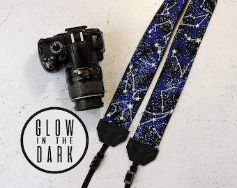 Constellation camera strap | Padded reflex camera strap, SLR DSLR | Constellation vegan camera strap | Glow in the dark camera strap | Stars