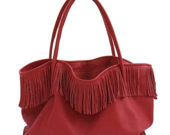 Big leather bag Fringe bag XXL shopper handmade