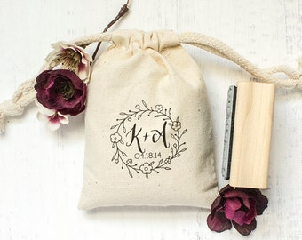 Custom Rubber Stamp, Monogram Stamp, Hand Drawn Floral Design, DIY Wedding Gifts, Tea Favors, Save The Dates. Custom Stamp 2x2 - W21