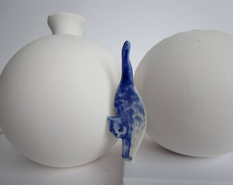 Cat brooch- Unique Handmade porcelain