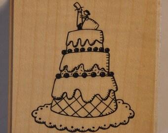 Wood stamp - wedding - cake cake