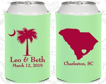 Palmetto Tree, Wedding Ideas, Crescent Moon, South Carolina Palmetto, Palmetto Moon, SC Palmetto Tree, Beer Can Coolers (76)