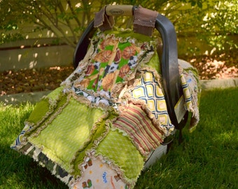 CAR SEAT Canopy - Boy Sport Baby Blanket - Carseat Tent - Baby Boy Football, Baseball, Soccer Quilt - Boy Car Seat Cover - Football Car Seat