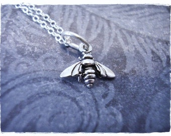Tiny Silver Bee Necklace - Sterling Silver Bee Charm on a Delicate Sterling Silver Cable Chain or Charm Only