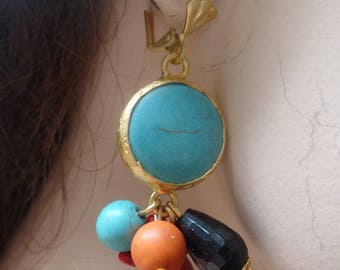 Turquoise dangle drop earrings with colorful beads