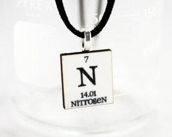 Nitrogen Chemistry Pendant - Personalized Jewelry - Geeky Nerd Necklace - Gift Idea