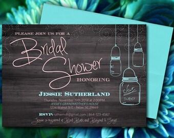 Mason Jar Wood Bridal Shower Invitation, Rustic Wedding Shower Microsoft Word Template - Aqua Peach Ivory | INSTANT DOWNLOAD