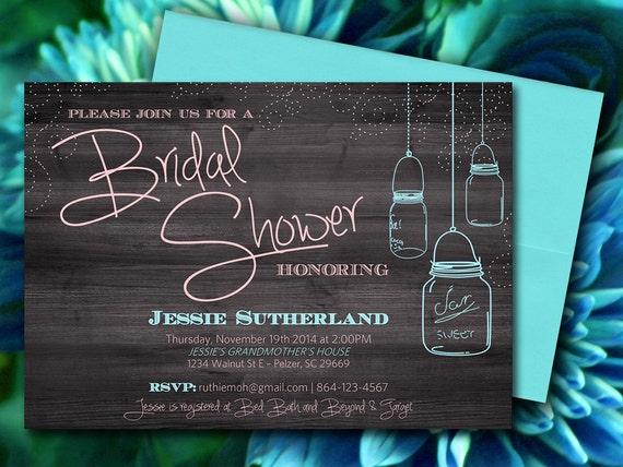 Mason Jar Wood Bridal Shower Invitation Rustic Wedding Shower