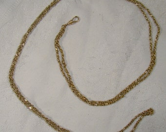 Victorian Gold Filled Watch Chain with Seed Pearl and Glass Slide 1890s