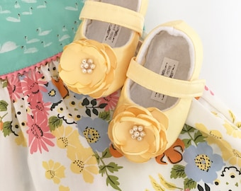M2M Matilda Jane Adventure Begins Handmade Soft Soled Baby Shoes Toddler Shoes Dull Satin Yellow Shoes LOTS OF COLORS - Aria