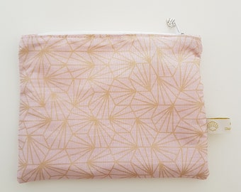 Pink gold small size cotton pouch, clutch bag, wallet, make-up bag
