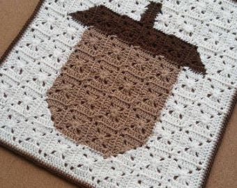 CROCHET PATTERN - Acorn Square Pixel Art, Granny Square Fall Decor Tutorial, Fall Granny Square Tutorial, Fall Wall Art Tutorial