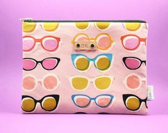 summer clutch, beach pouch, sunglasses pouch, personalized clutch, travel pouch, peach zipper pouch, teacher gift under 20, small makeup bag