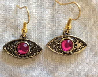 Pink and gold all-seeing eye dangle earrings
