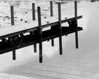 Dock Reflection Black and White Fine Art Photography on Metallic Paper