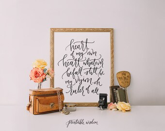 Calligraphy art print, Printable wall art, hymn printable, Be Thou My Vision, hand lettered print, hymn print, wall decor, printable wisdom