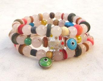 Pink quartz bracelets, evil eye bracelets, stacking bracelets, bone bracelets, stretch bracelets, boho chic jewelry, beaded bracelets