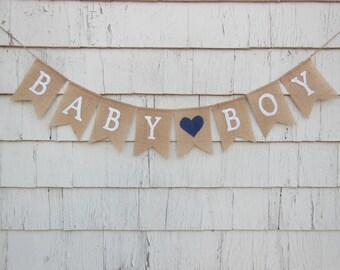 Baby Boy Banner, Baby Boy Bunting, Baby Shower Decor, Gender Reveal Photo Prop, Pregnancy Photo Prop, Burlap Garland, Rustic Baby Decor
