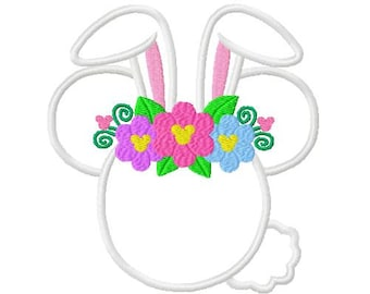 Easter Mouse Bunny with Flowers  Embroidery Applique Design - Instant Digital Embroidery machine Design