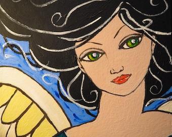Ariel - Original Folk Art Guardian Angel Painting on Canvas